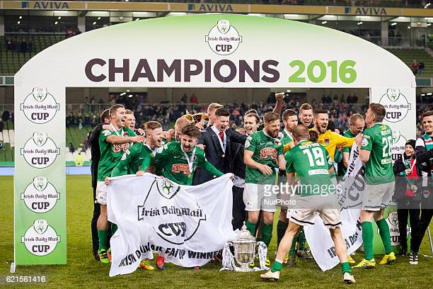 Cork City players celebrate after the Irish Daily Mail FAI Senior Cup Final 2016 match between Cork City and Dundalk FC at Aviva Stadium in Dublin...
