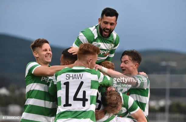 Cork Ireland 13 July 2017 Graham Burke hidden of Shamrock Rovers celebrates after scoring his side's first goal with teammates Luke Byrne David...
