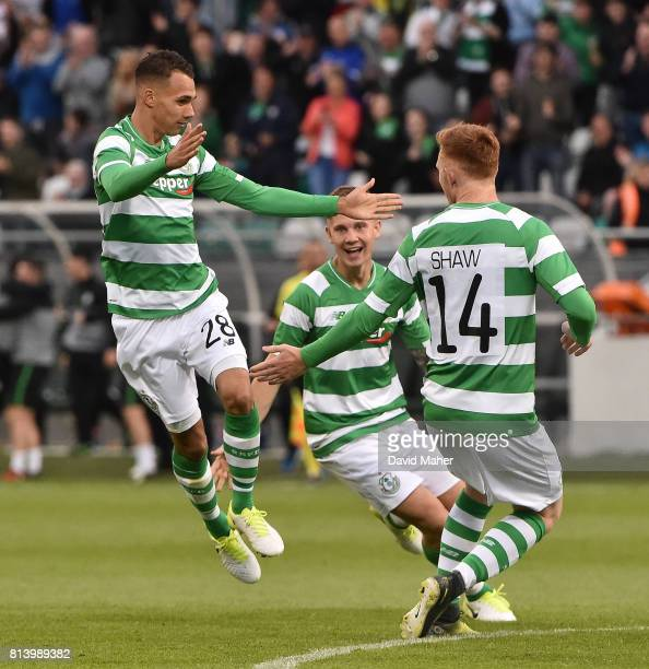 Cork Ireland 13 July 2017 Graham Burke left of Shamrock Rovers celebrates after scoring his side's first goal with teammates Luke Byrne and Gary Shaw...