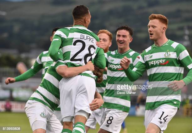 Cork Ireland 13 July 2017 Graham Burke left of Shamrock Rovers celebrates after scoring his side's first goal with teammates Gary Shaw and Ronan Finn...
