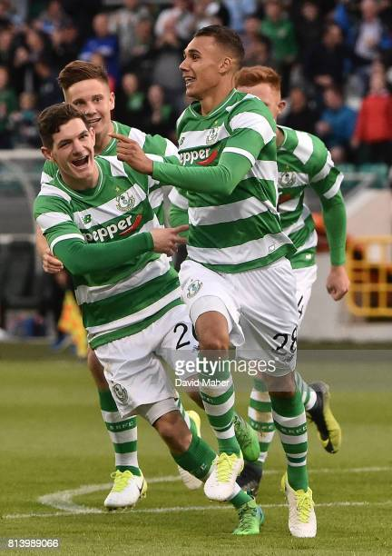 Cork Ireland 13 July 2017 Graham Burke right of Shamrock Rovers celebrates after scoring his side's first goal with teammate Trevor Clarke during the...
