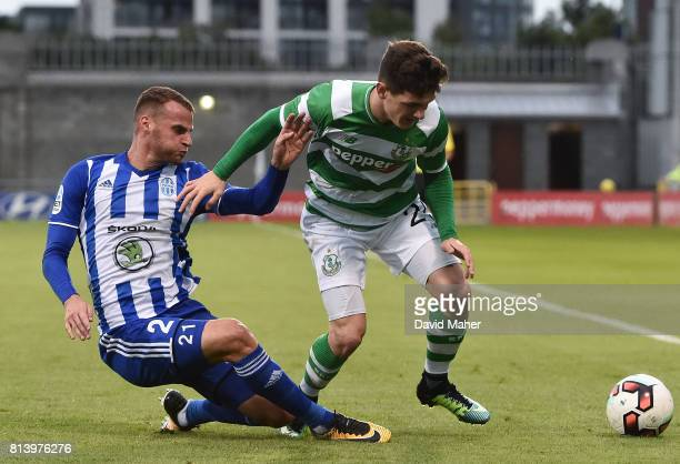 Cork Ireland 13 July 2017 Trevor Clarke of Shamrock Rovers in action against Likas Pauschek of Mlada Boleslav during the UEFA Europa League Second...