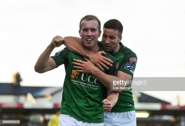 Cork Ireland 16 June 2017 Stephen Dooley of Cork City celebrates with team mate Gearóid Morrissey after scoring his side's second goal during the SSE...