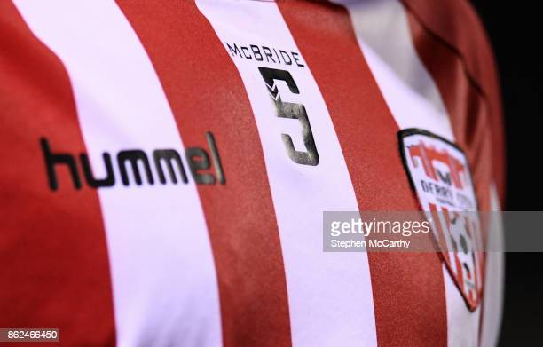 Cork Ireland 17 October 2017 A detailed view of a tribute to the late Derry City player Ryan McBride during the SSE Airtricity League Premier...