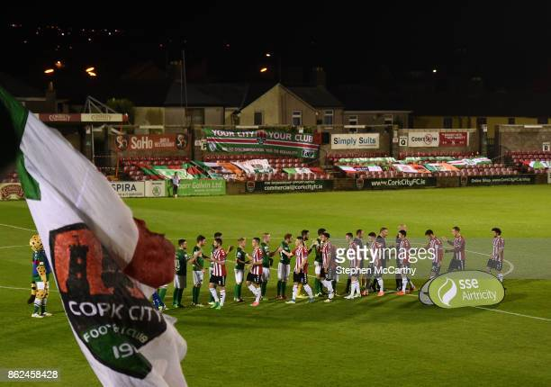 Cork Ireland 17 October 2017 Cork City and Derry City players shake hands in front of the Derrynane Stand before the SSE Airtricity League Premier...