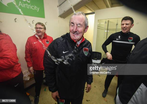 Cork Ireland 17 October 2017 Cork City manager John Caulfield celebrates winning the SSE Airtricity League Premier Division after the match between...