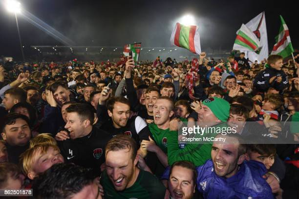 Cork Ireland 17 October 2017 Cork City players and supporters celebrate winning the SSE Airtricity League Premier Division after the SSE Airtricity...