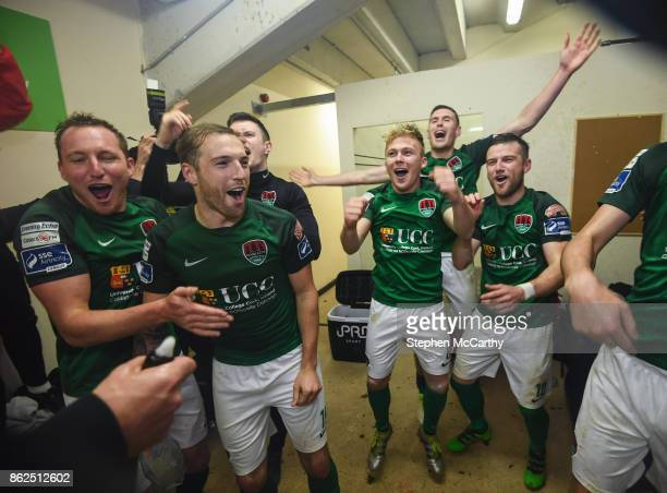 Cork Ireland 17 October 2017 Cork City players celebrate winning the SSE Airtricity League Premier Division following the match between Cork City and...