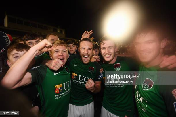 Cork Ireland 17 October 2017 Cork City players from left Conor McCormack Karl Sheppard Kieran Sadlier and Jimmy Keohane celebrate winning the SSE...