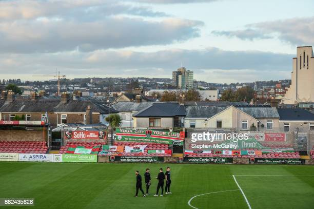 Cork Ireland 17 October 2017 Cork City players on the pitch at Turners Cross in front of the Derrynane Stand which was hit by Storm Ophelia prior to...