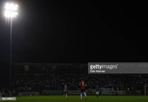 Cork Ireland 17 October 2017 Cork City supporters illuminate the stands with their smartphones during the SSE Airtricity League Premier Division...