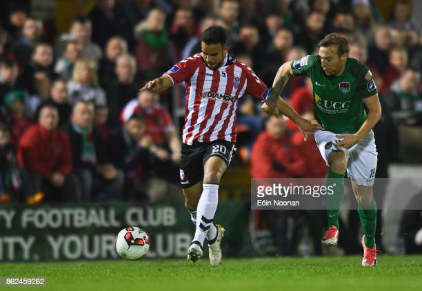 Cork Ireland 17 October 2017 Darren Cole of Derry City in action against Karl Sheppard of Cork City during the SSE Airtricity League Premier Division...