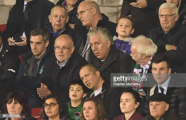 Cork Ireland 17 October 2017 FAI CEO John Delaney with FAI Competition Director Fran Gavin left and Cork City FC Chairman Pat Lyons right during the...
