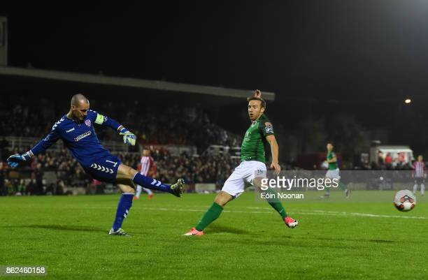 Cork Ireland 17 October 2017 Gerard Doherty of Derry City in action against Karl Sheppard of Cork City during the SSE Airtricity League Premier...