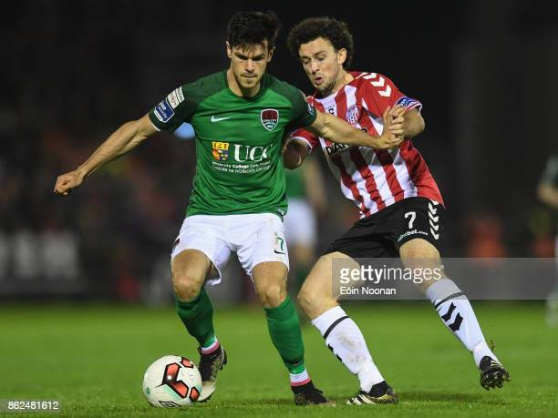 Cork Ireland 17 October 2017 Jimmy Keohane of Cork City in action against Barry McNamee of Derry City during the SSE Airtricity League Premier...