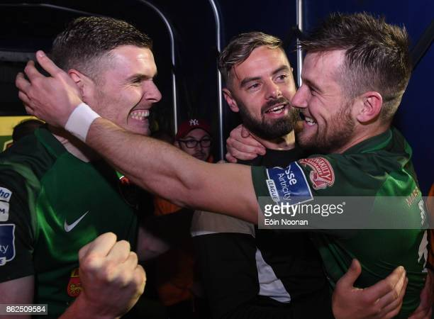 Cork Ireland 17 October 2017 Steven Beattie right celebrates with teammates Garry Buckley left and Greg Bolger centre after the SSE Airtricity League...