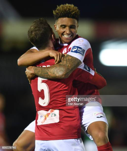 Cork Ireland 18 August 2017 Seamus Sharkey left of Sligo Rovers celebrates with teammate Tobi AdebayoRowling after the SSE Airtricity League Premier...