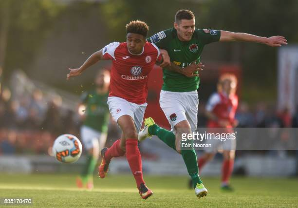 Cork Ireland 18 August 2017 Tobi AdebayoRowling of Sligo Rovers in action against Garry Buckley of Cork City during the SSE Airtricity League Premier...