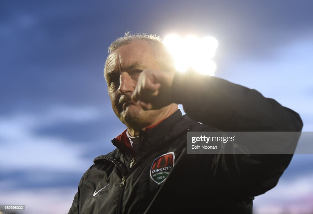 Cork , Ireland - 19 May 2017; Cork City manager John Caulfield celebrates after SSE Airtricity League Premier Division game between Cork City and Drogheda United at Turners Cross in Cork.