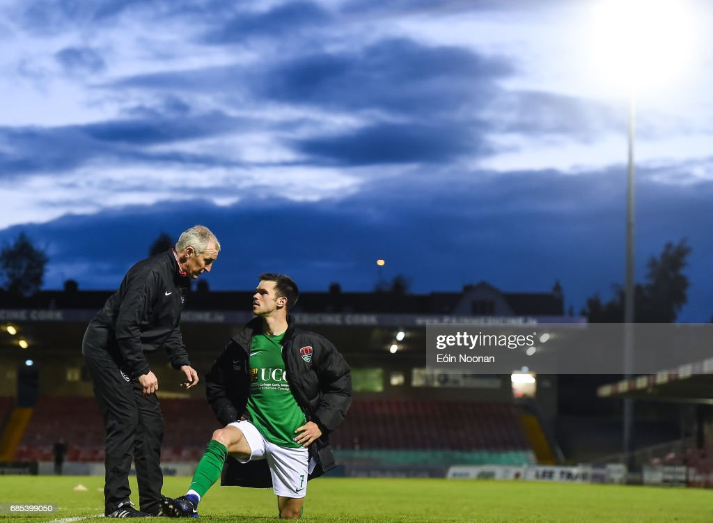 Cork , Ireland - 19 May 2017; Cork City manager John Caulfield speaking to Jimmy Keohane of Cork city after the SSE Airtricity League Premier Division game between Cork City and Drogheda United at Turners Cross in Cork.