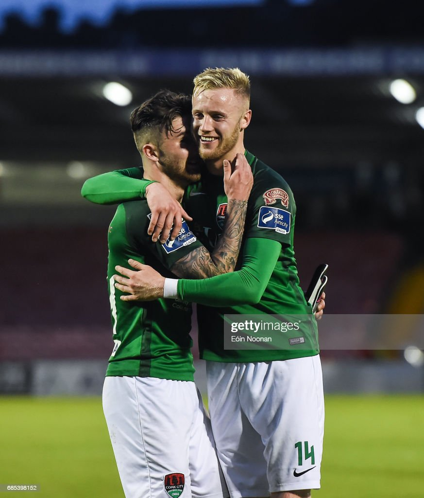 Cork , Ireland - 19 May 2017; Sean Maguire, left, celebrates with team-mate Kevin O'Connor of Cork City after the SSE Airtricity League Premier Division game between Cork City and Drogheda United at Turners Cross in Cork.