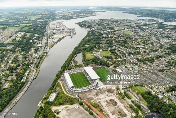 Cork Ireland 23 July 2017 An aerial view of Páirc Ui Chaoimh as the Wexford and Waterford teams stand for the playing of the national anthem prior to...