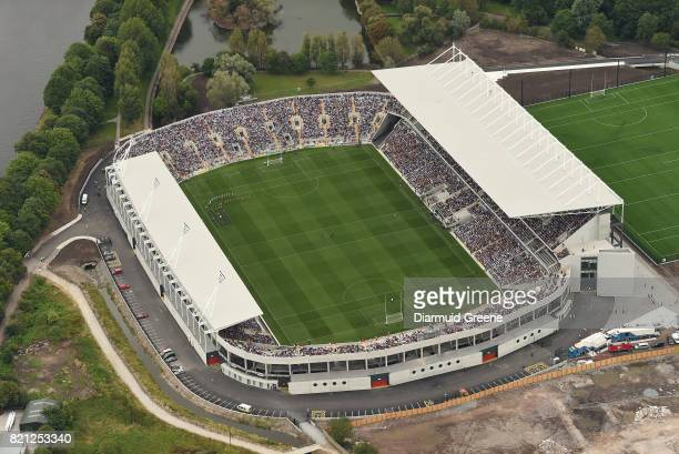 Cork Ireland 23 July 2017 An aerial view of Páirc Ui Chaoimh as the Wexford and Waterford teams walk behind the Artane band during the prematch...