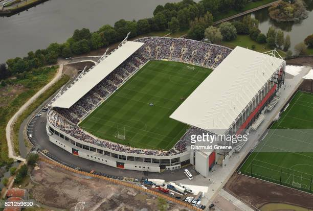 Cork Ireland 23 July 2017 An aerial view of Páirc Ui Chaoimh as the Wexford and Waterford teams gather in their respective huddles prior to the GAA...