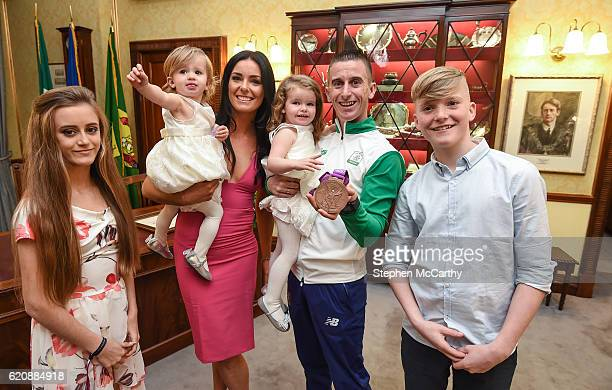 Cork Ireland 3 November 2016 Race walker Robert Heffernan with his wife Marian and children Meghan age 13 Tara age 19 months Regan age 2 and Cathal...