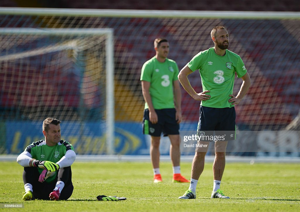 Cork , Ireland - 30 May 2016; David Meyler, right, and Shay Given of Republic of Ireland during squad training in Turners Cross, Cork.