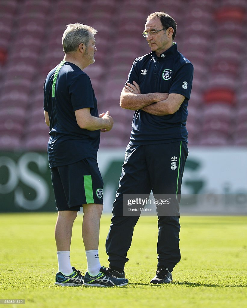 Cork , Ireland - 30 May 2016; Martin O'Neill, right, manager of Republic of Ireland with team doctor Alan Byrne during squad training in Turners Cross, Cork.