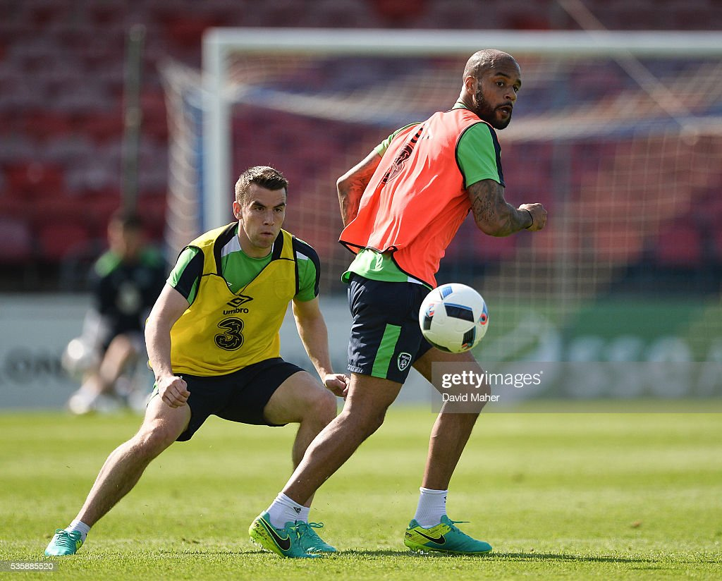 Cork , Ireland - 30 May 2016; Republic of Ireland players David McGoldrick, right, and Seamus Coleman during squad training in Turners Cross, Cork.