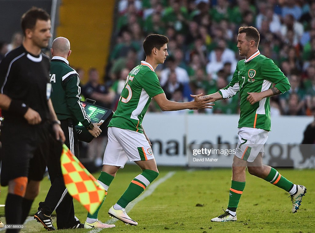 Cork , Ireland - 31 May 2016; Callum O'Dowda of Republic of Ireland comes on for his international debut in place of <a gi-track='captionPersonalityLinkClicked' href=/galleries/search?phrase=Aiden+McGeady&family=editorial&specificpeople=713430 ng-click='$event.stopPropagation()'>Aiden McGeady</a> during the EURO2016 Warm-up International between Republic of Ireland and Belarus in Turners Cross, Cork.