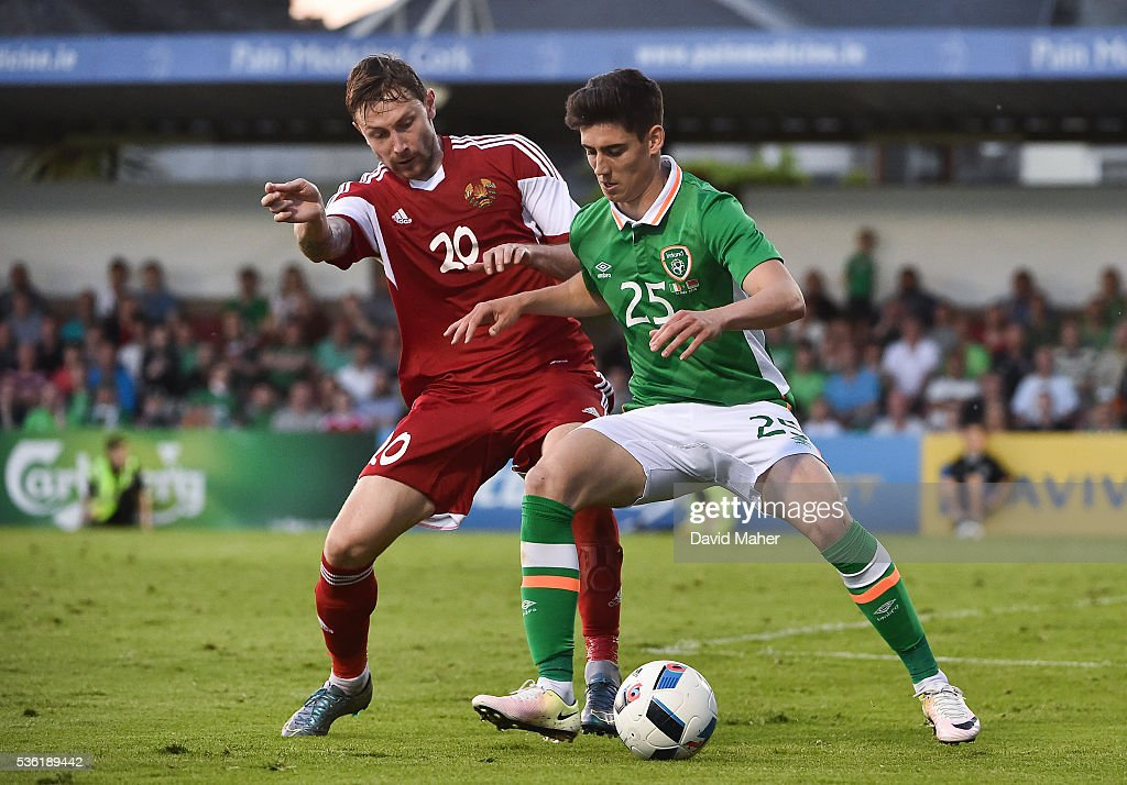 Cork , Ireland - 31 May 2016; Callum O'Dowda of Republic of Ireland in action against Mikhail Sivakov of Belarus during the EURO2016 Warm-up International between Republic of Ireland and Belarus in Turners Cross, Cork.