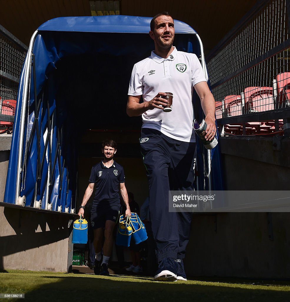 Cork , Ireland - 31 May 2016; John O'Shea of Republic of Ireland before the start of the the EURO2016 Warm-up International between Republic of Ireland and Belarus in Turners Cross, Cork.