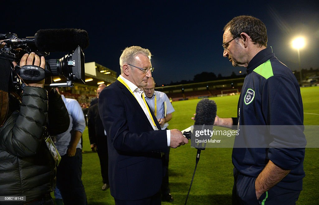 Cork , Ireland - 31 May 2016; Republic of Ireland manager Martin O'Neill speaks to RTE's Tony O'Donoghue following the EURO2016 Warm-up International between Republic of Ireland and Belarus in Turners Cross, Cork.