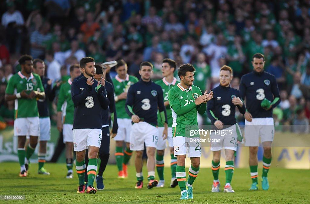 Cork , Ireland - 31 May 2016; Republic of Ireland players following the EURO2016 Warm-up International between Republic of Ireland and Belarus in Turners Cross, Cork.