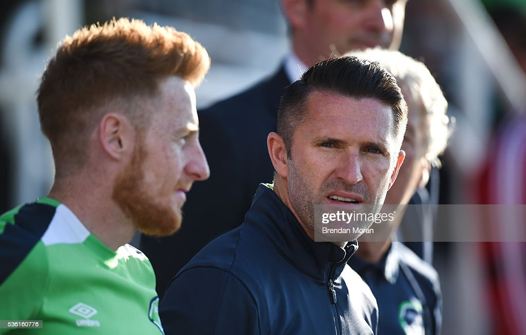 Cork , Ireland - 31 May 2016; <a gi-track='captionPersonalityLinkClicked' href=/galleries/search?phrase=Robbie+Keane&family=editorial&specificpeople=171824 ng-click='$event.stopPropagation()'>Robbie Keane</a>, right, and <a gi-track='captionPersonalityLinkClicked' href=/galleries/search?phrase=Stephen+Quinn&family=editorial&specificpeople=622061 ng-click='$event.stopPropagation()'>Stephen Quinn</a> watch on during the EURO2016 Warm-up International between Republic of Ireland and Belarus in Turners Cross, Cork.