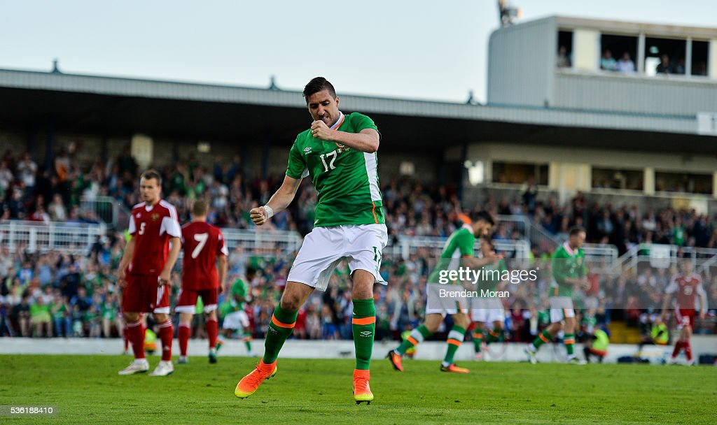 Cork , Ireland - 31 May 2016; Stephen Ward of Republic of Ireland celebrates after scoring his side's first goal against Belarus during the EURO2016 Warm-up International between Republic of Ireland and Belarus in Turners Cross, Cork.