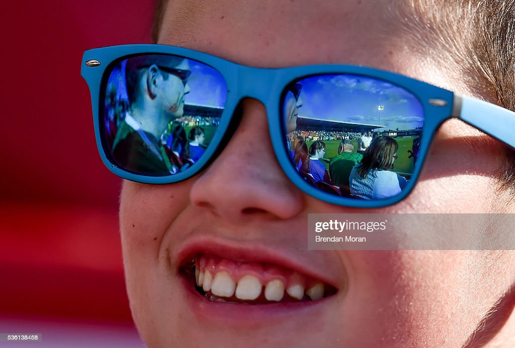 Cork , Ireland - 31 May 2016; Turners Cross is reflected in the sunglasses of a young supporter prior to the EURO2016 Warm-up International between Republic of Ireland and Belarus in Turners Cross, Cork.