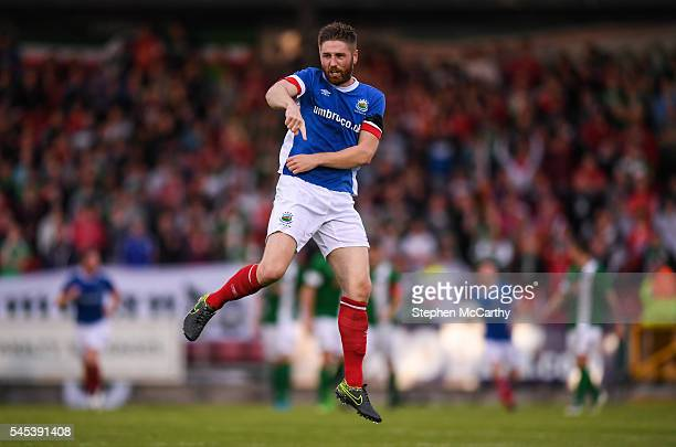 Cork Ireland 7 July 2016 Mark Stafford of Linfield celebrates after scoring his side's first goal of the game during the UEFA Europa League First...