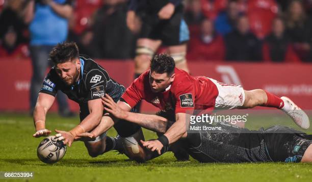 Cork Ireland 8 April 2017 Ali Price left and Jonny Gray of Glasgow Warriors manage to ground the bell to prevent Ronan O'Mahony of Munster scoring a...