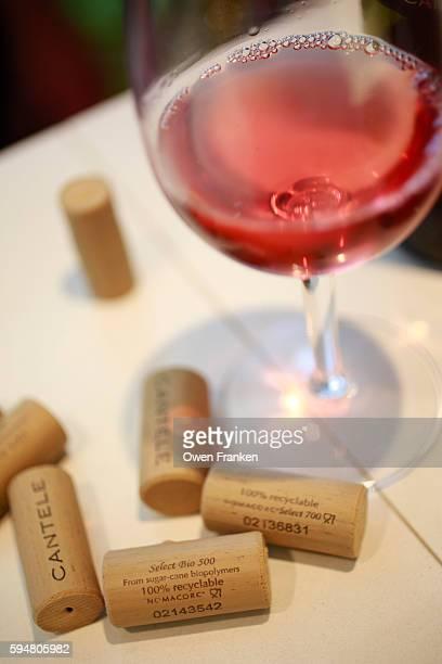 corks and rosatto wine at the winemaker Cantele, Guagnano - Salento, Puglia, Italy