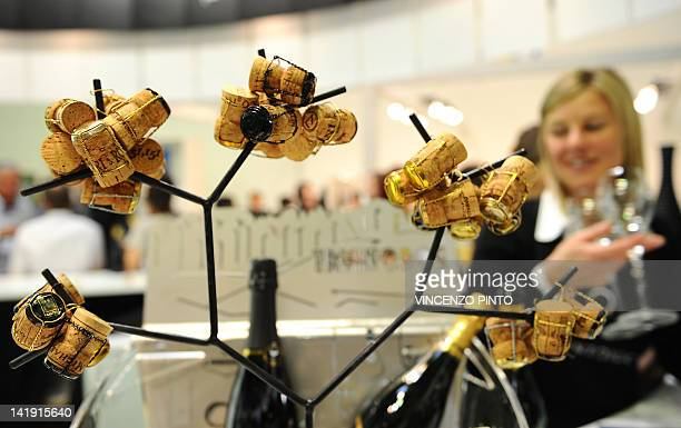 Corks of sparkling wine bottles are displayed on March 25 2012 at the Vinitaly exposition in Verona The 46th international wine and spirits...