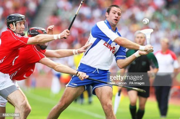 Cork's Roanan Curran tackles Waterford's Dan Shanahan during the Guinness All Ireland Hurling Championship Quarter Final match at Croke Park Dublin