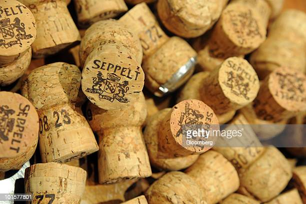 Corks used for sparkling wine are printed with the Seppelt logo at Foster's Group Ltd's Seppelt vineyard in Great Western Australia on Wednesday June...