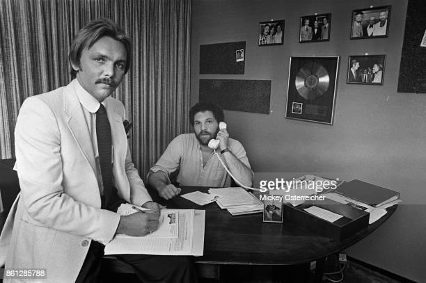Corky Berger and Harvey Weinstein in the office of Harvey and Corky Productions in the Buffalo AUD in Buffalo, New York.