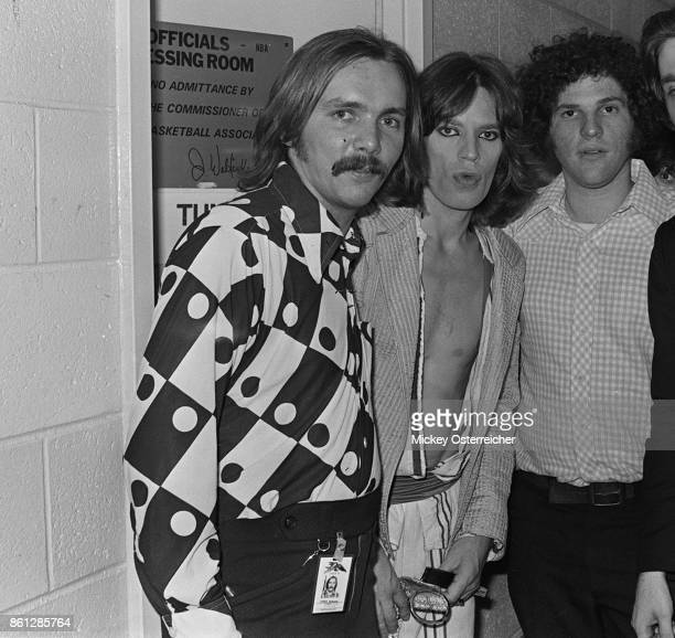 Corky Berger, Mick Jagger and Harvey Weinstein at the Buffalo AUD June, 15, 1975 in Buffalo, New York.