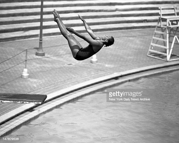 Corky Gilissen in a back somersault in the Olympic Pool at Astoria Park Pool