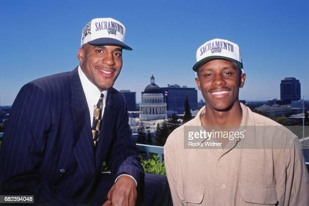 Corliss Williamson and Tyus Edney of the Sacramento Kings pose for a portrait circa 1996 at Arco Arena in Sacramento California NOTE TO USER User...